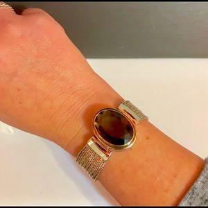 Jewelry - NWOT Smokey topaz facet liquid toggle bracelet
